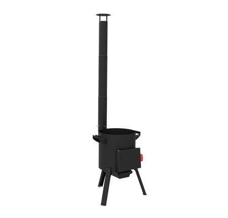 Чугунный казан 22 литра Ситон с чуг. крышкой + печь c трубой, поддувалом Grillver 3 мм. - фото 11899