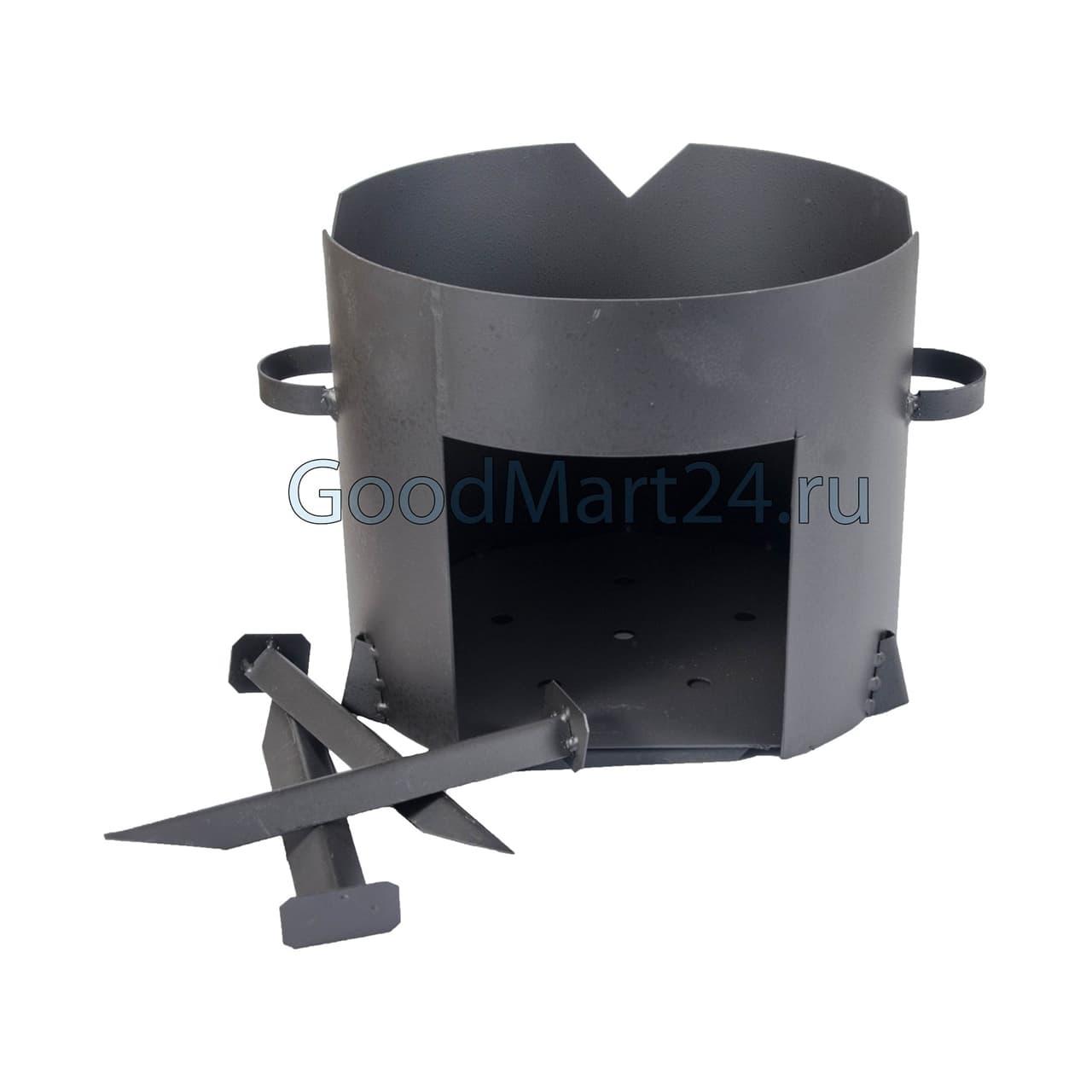 Чугунный казан 8 л. Балезинский ЛМЗ + Печь d-340 мм сталь 2 мм. - фото 4840