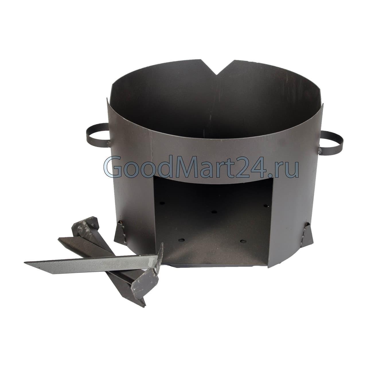 Чугунный казан 25 л. Балезинский ЛМЗ + Печь d-480 мм сталь 2 мм. - фото 4855