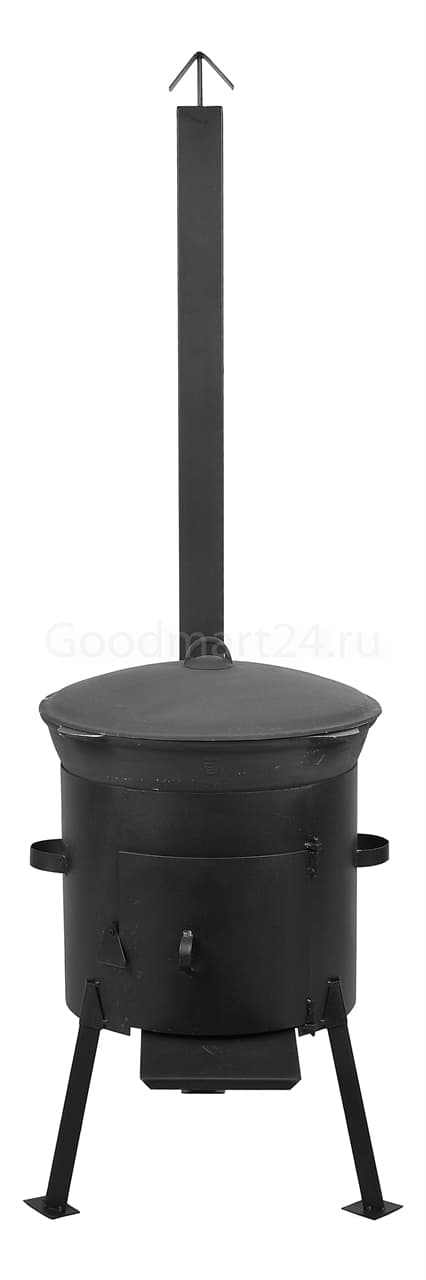 Чугунный казан 8 л. Балезинский ЛМЗ + Печь с трубой D-340 мм сталь 2 мм. - фото 4866