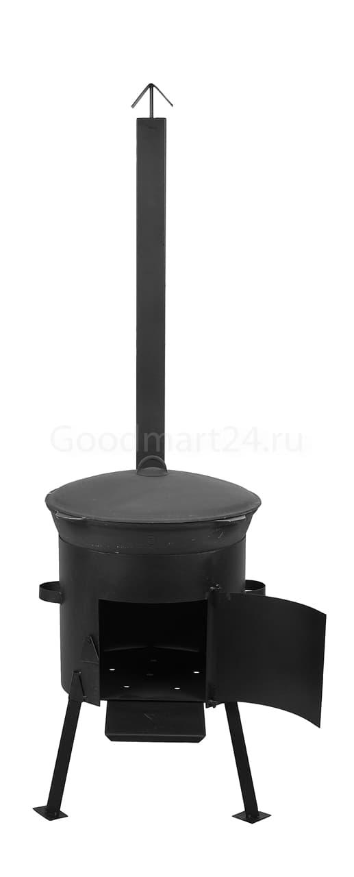 Чугунный казан 8 л. Балезинский ЛМЗ + Печь с трубой D-340 мм сталь 2 мм. - фото 4867