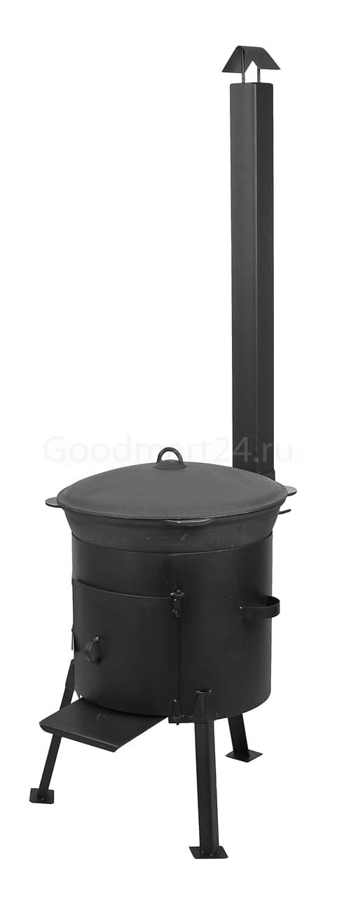 Чугунный казан 8 л. Балезинский ЛМЗ + Печь с трубой D-340 мм сталь 2 мм. - фото 4868