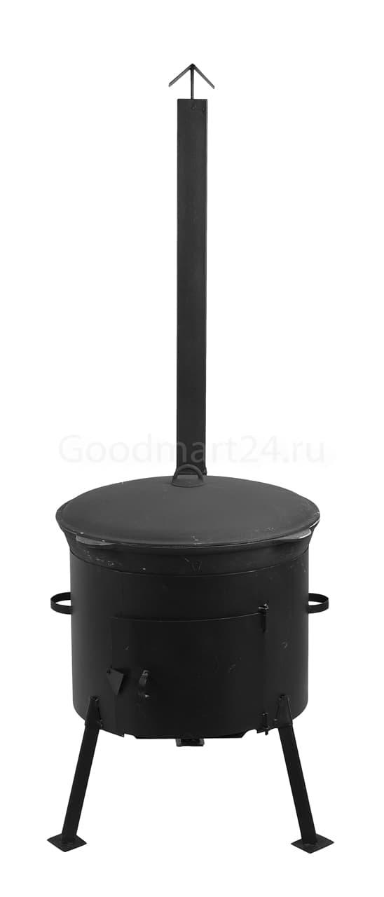 Чугунный казан 12 л. Балезинский ЛМЗ + Печь с трубой D-360 мм сталь 2 мм. - фото 4877