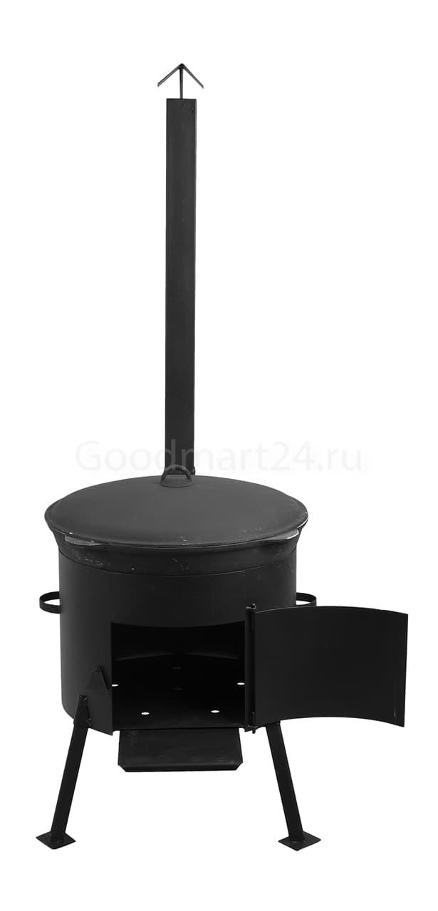 Чугунный казан 12 л. Балезинский ЛМЗ + Печь с трубой D-360 мм сталь 2 мм. - фото 4878