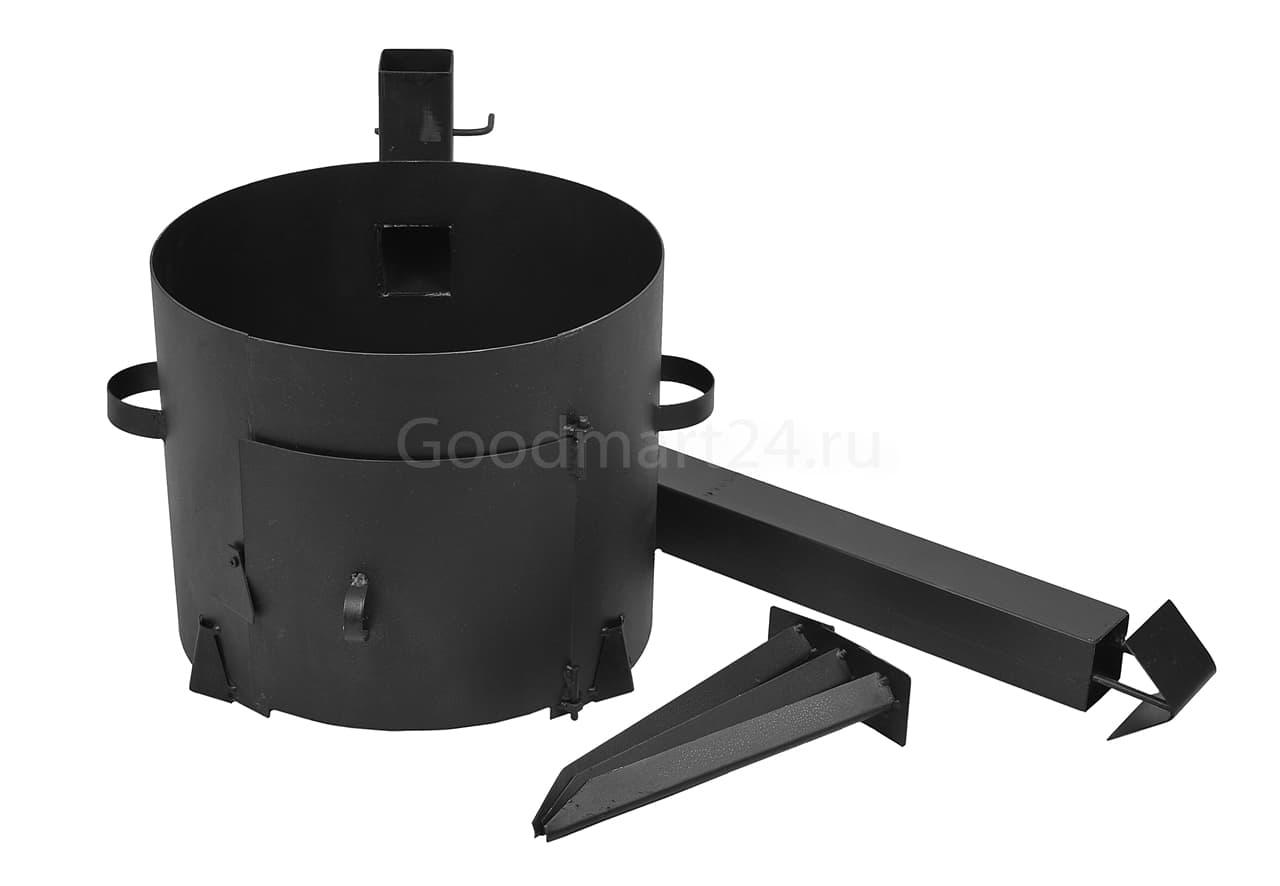 Чугунный казан 25 л. Балезинский ЛМЗ + Печь с трубой D-480 мм сталь 2 мм. - фото 4900