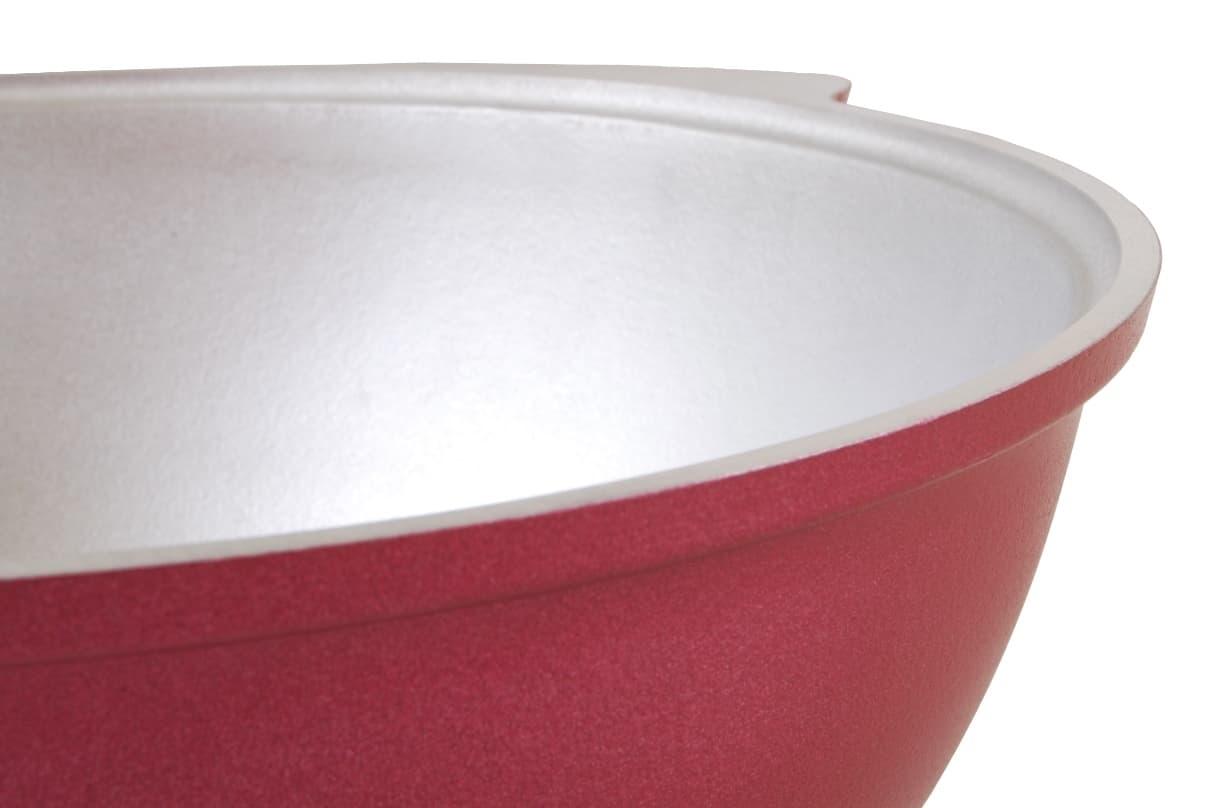 Казан с декоративным покрытием 4,5 л. Бордовый с крышкой Kukmara - фото 4965