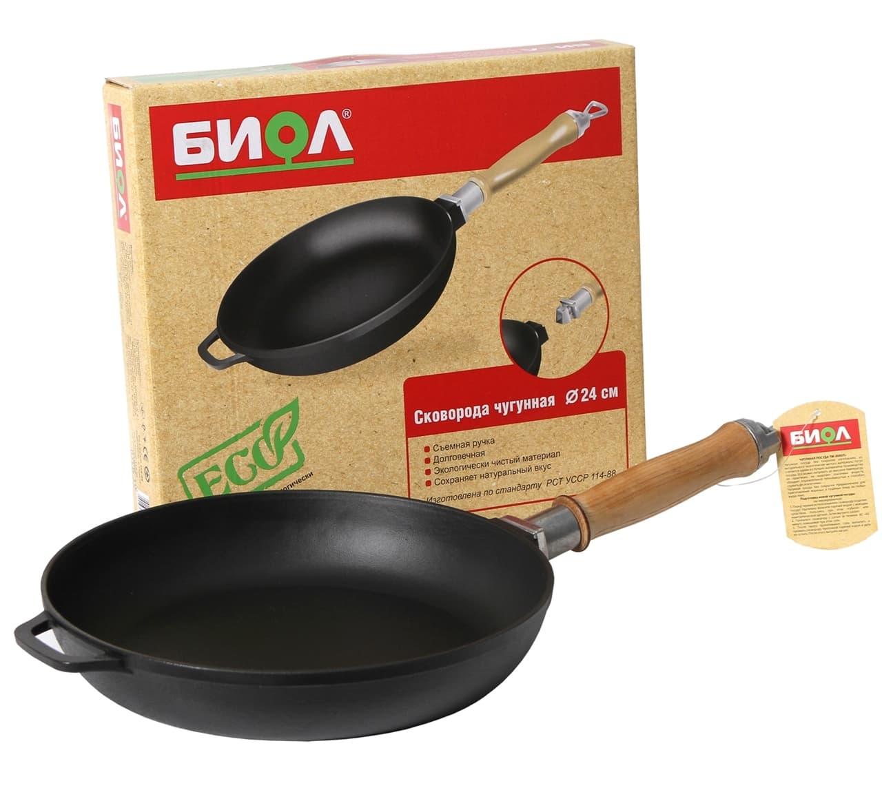 Чугунная сковорода 220х40 мм. с деревянной ручкой БИОЛ арт. 0122 - фото 4985