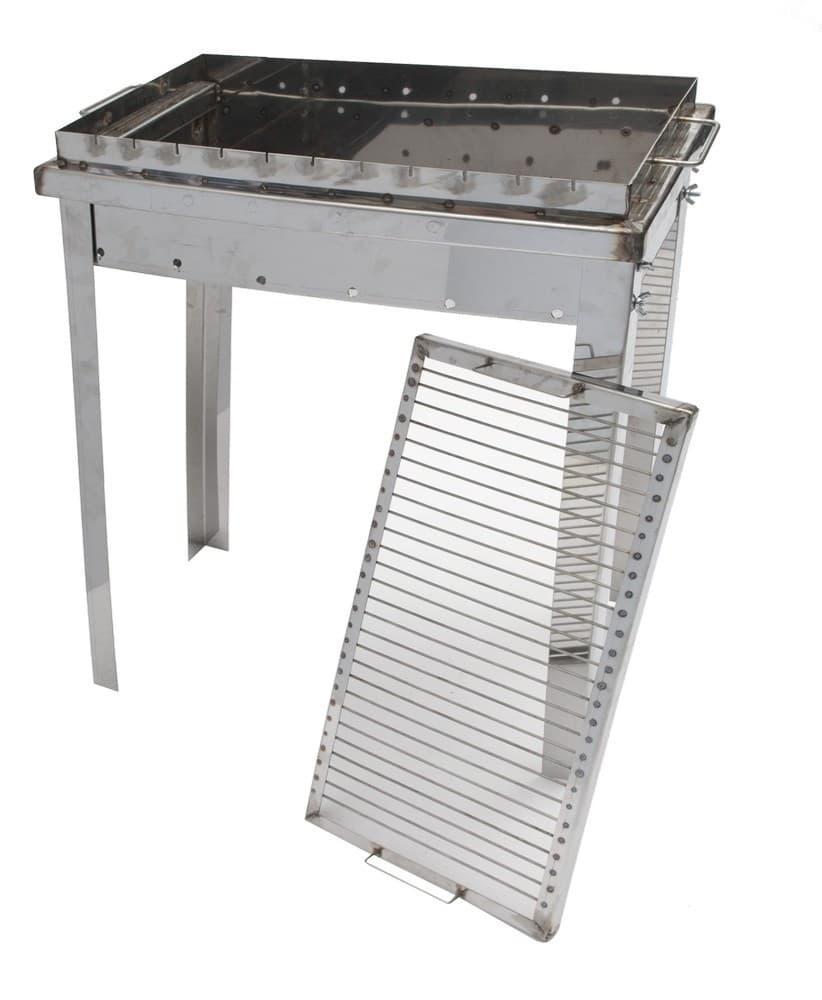 Мангал складной нержавеющая сталь 600х350х600 мм. 2 мм с решеткой - фото 5291