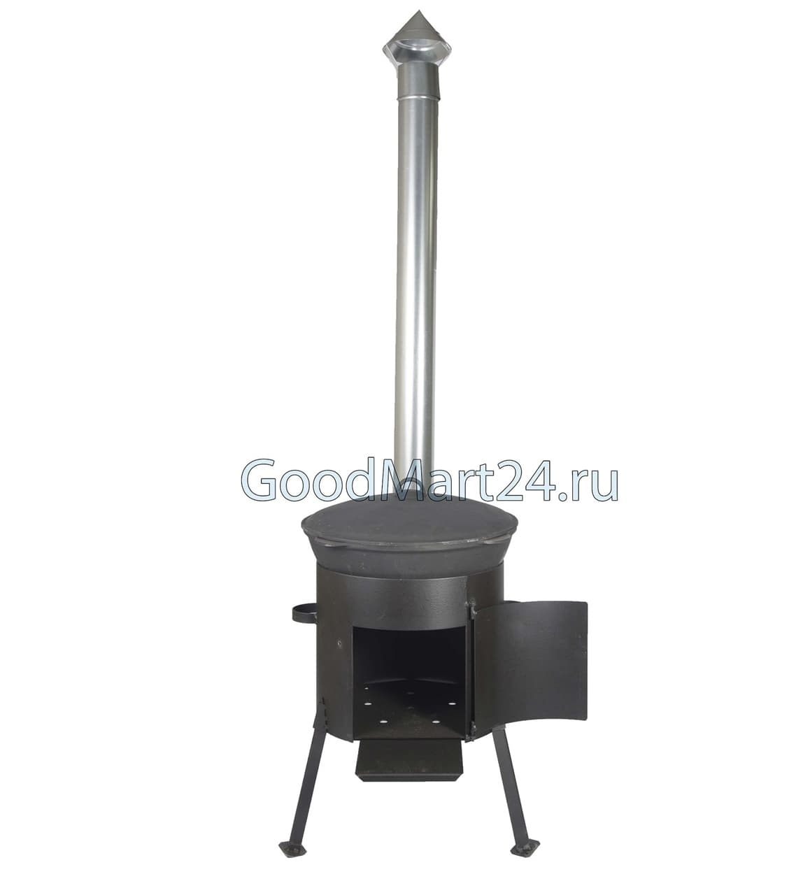 Комплект: Чугунный казан 10 л. Балезинский ЛМЗ + Печь с трубой D-360 мм, усиленная s- 3 мм. - фото 5540