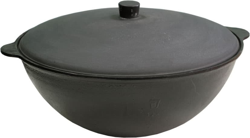 Комплект: Чугунный казан 10 л. Балезинский ЛМЗ + Печь с трубой D-360 мм, усиленная s- 3 мм. - фото 5541