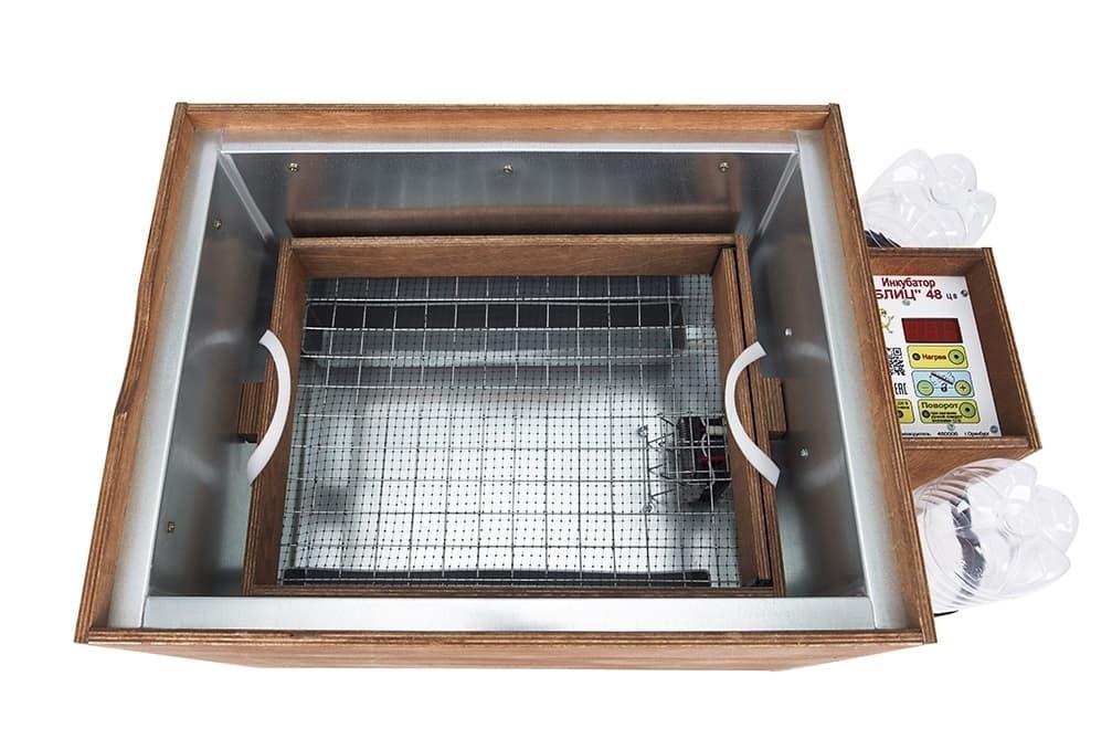 Инкубатор БЛИЦ 48 цифровой, 220/12В, автомат.поворот, рег. влажности - фото 5601