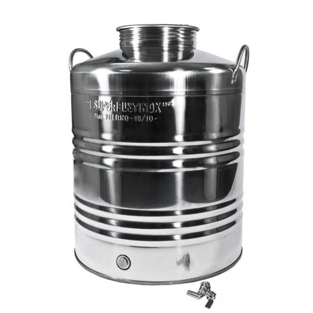 Традиционная бочка с краном на 50 литров из нержавеющей стали Sansone - фото 6088