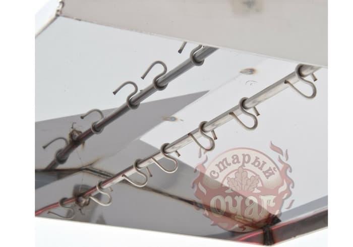 Коптильня универсальная 2 в 1 (гор/хол копчение) 500х300х300 с г-з, кр. домиком - фото 6327