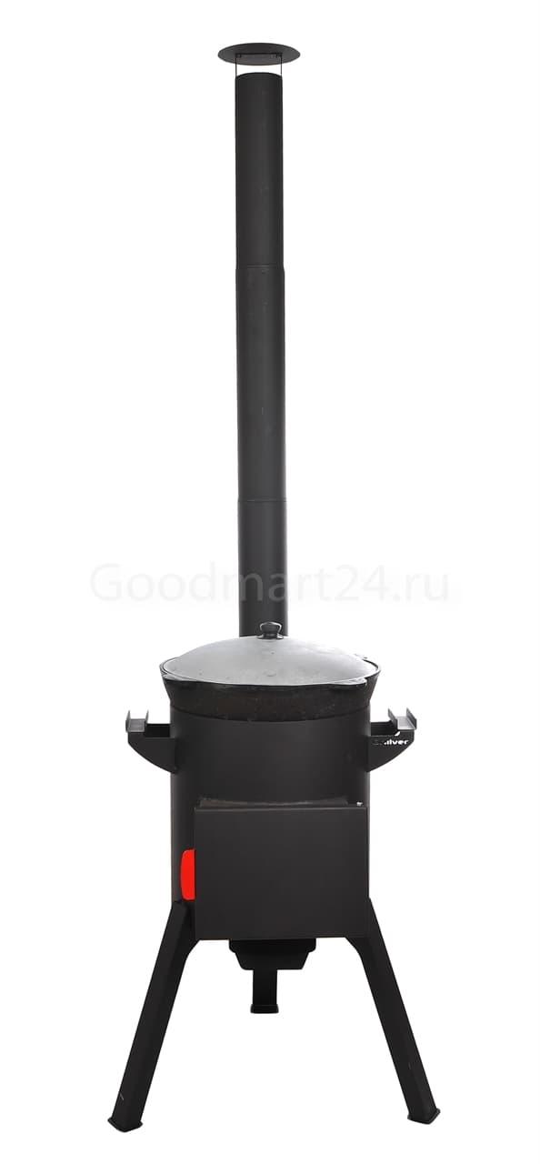 Узбекский чугунный казан 10 литров + печь c трубой, поддувалом Grillver 3 мм. - фото 7165