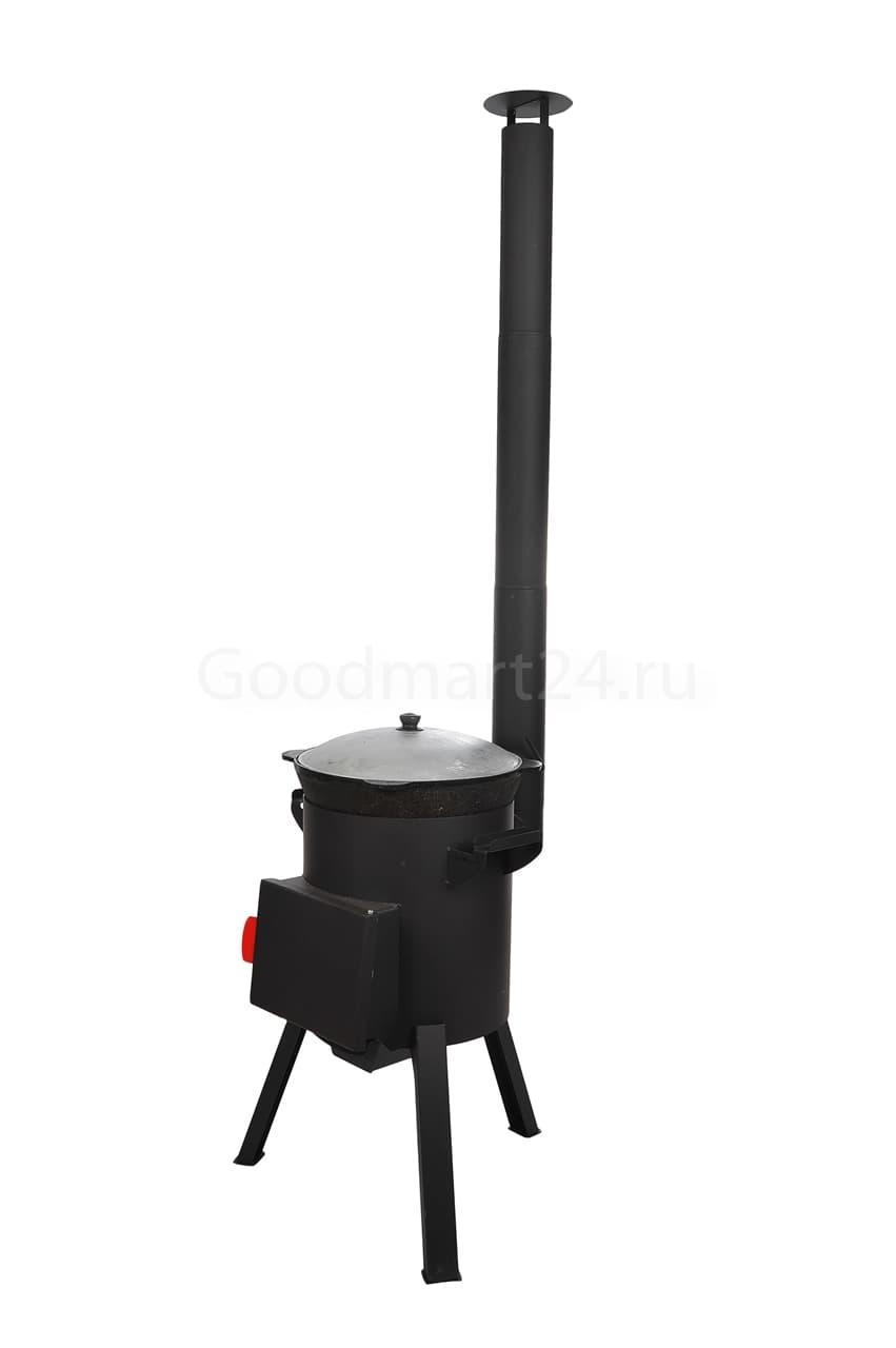 Узбекский чугунный казан 22 литра + печь c трубой, поддувалом Grillver 3 мм. - фото 7194