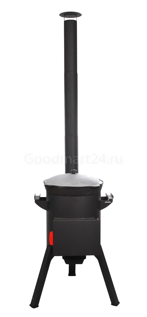 Узбекский чугунный казан 22 литра + печь c трубой, поддувалом Grillver 3 мм. - фото 7195