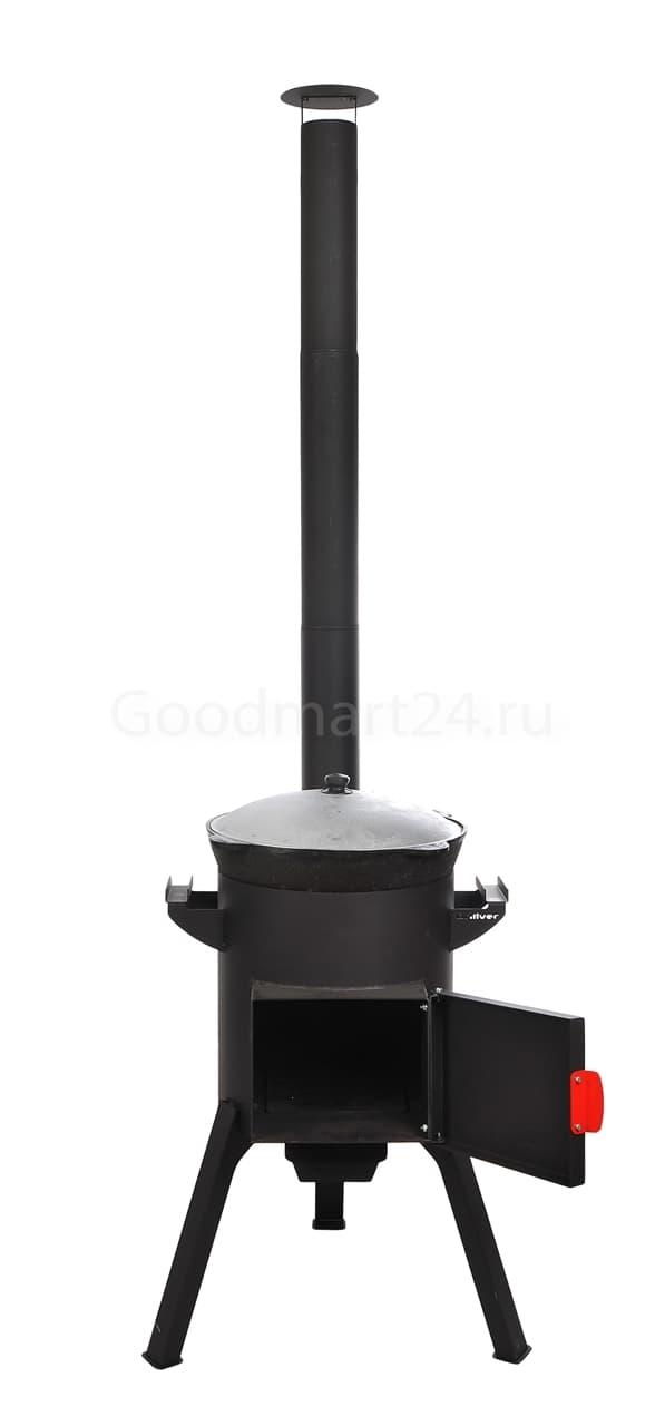 Узбекский чугунный казан 22 литра + печь c трубой, поддувалом Grillver 3 мм. - фото 7196