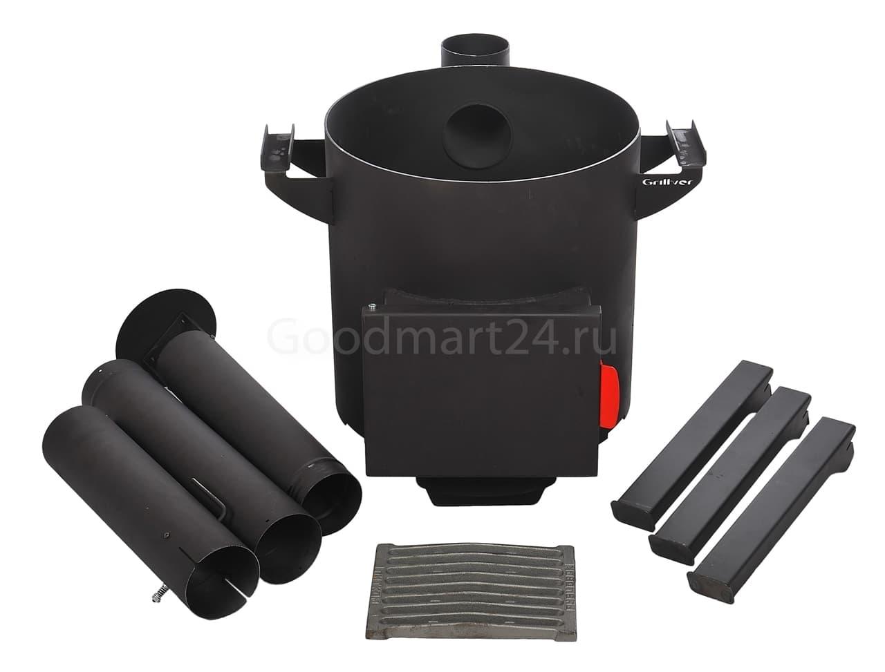Узбекский чугунный казан 22 литра + печь c трубой, поддувалом Grillver 3 мм. - фото 7197