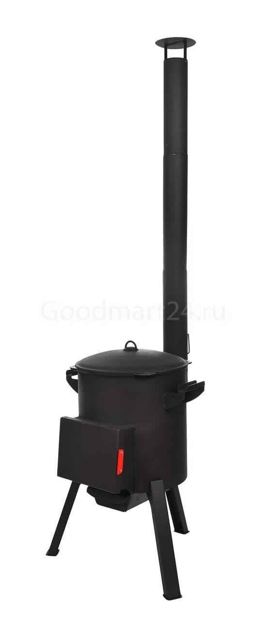 Чугунный казан 12 литров БЛМЗ + печь c трубой, поддувалом Grillver 3 мм. - фото 7211