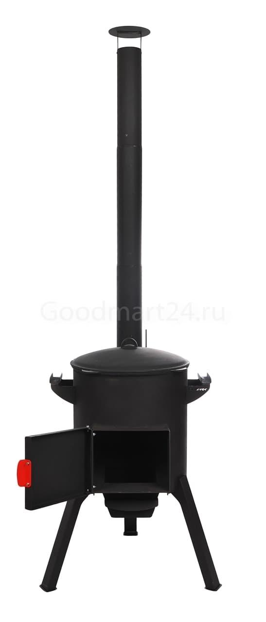 Чугунный казан 18 литров БЛМЗ + печь c трубой, поддувалом Grillver 3 мм. - фото 7220