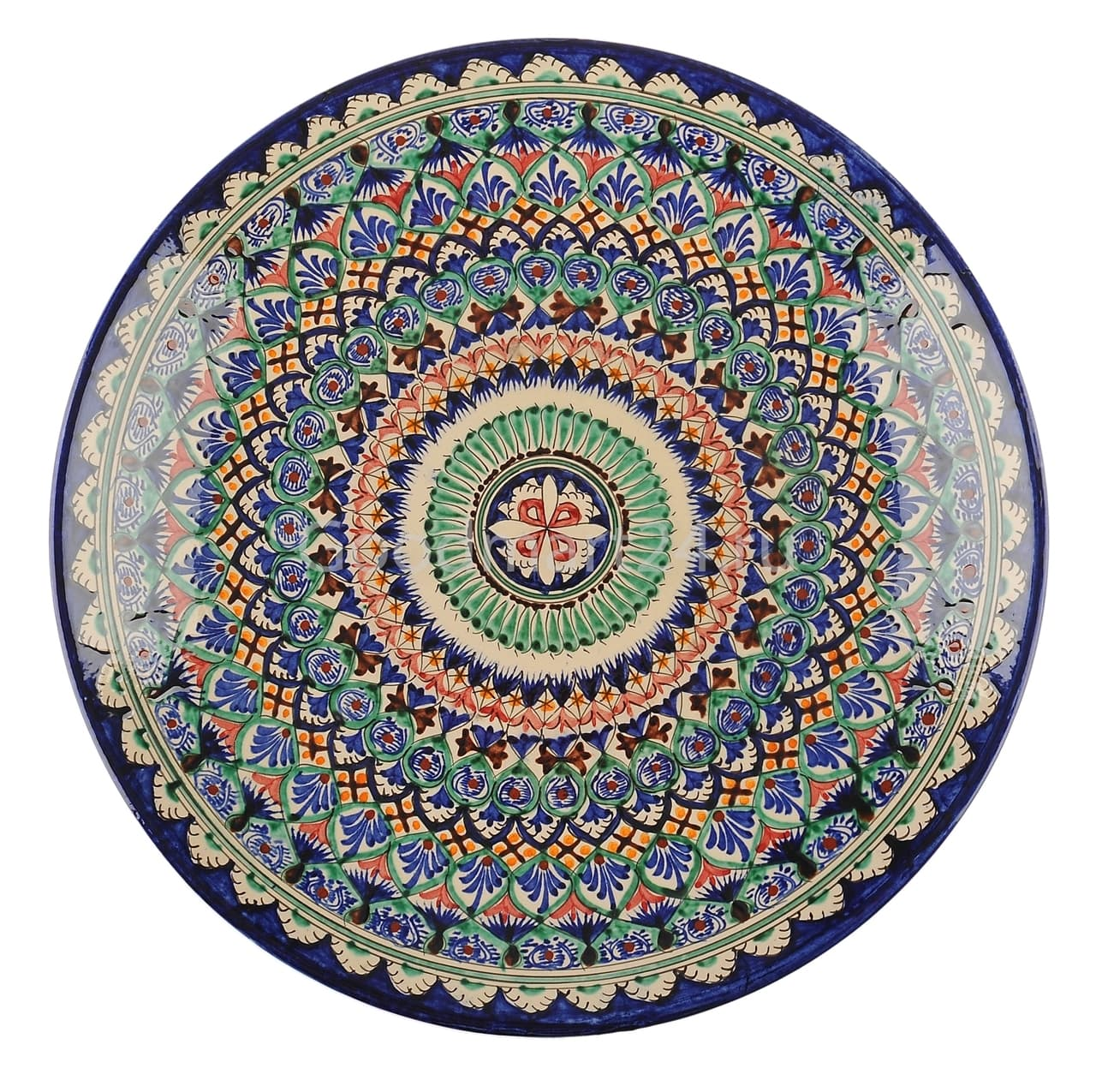 Ляган Риштанская Керамика 46 см. плоский, синий - фото 7332