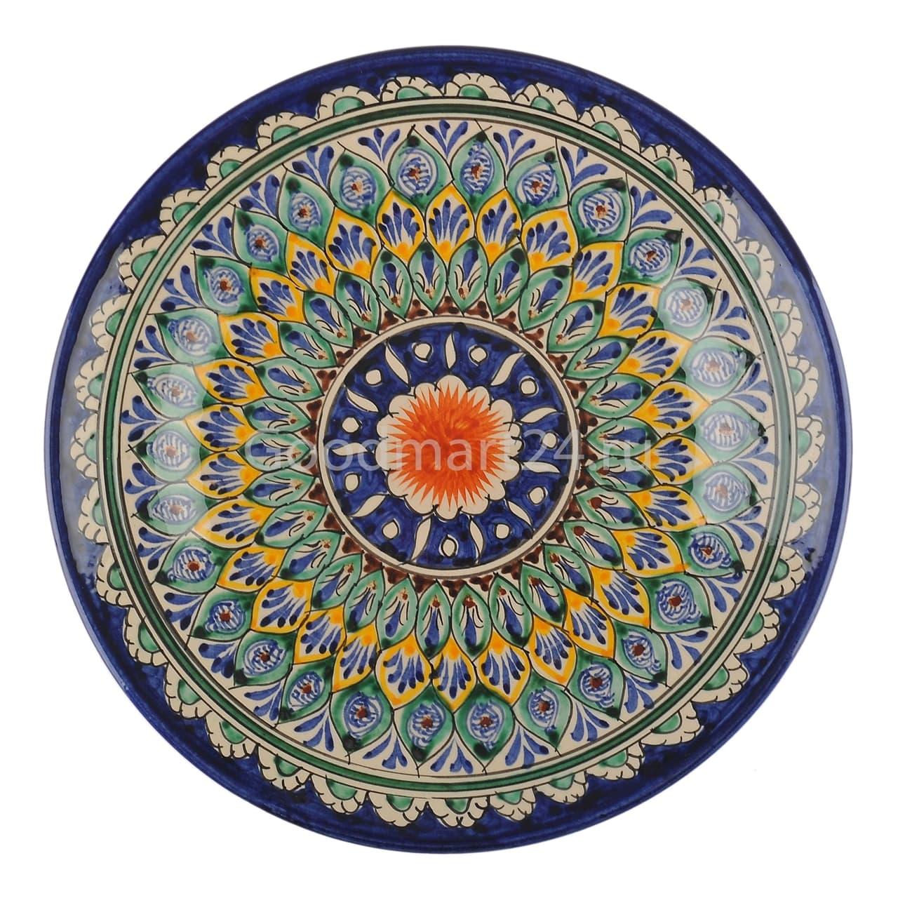 Ляган Риштанская Керамика 46 см. плоский, синий - фото 7334