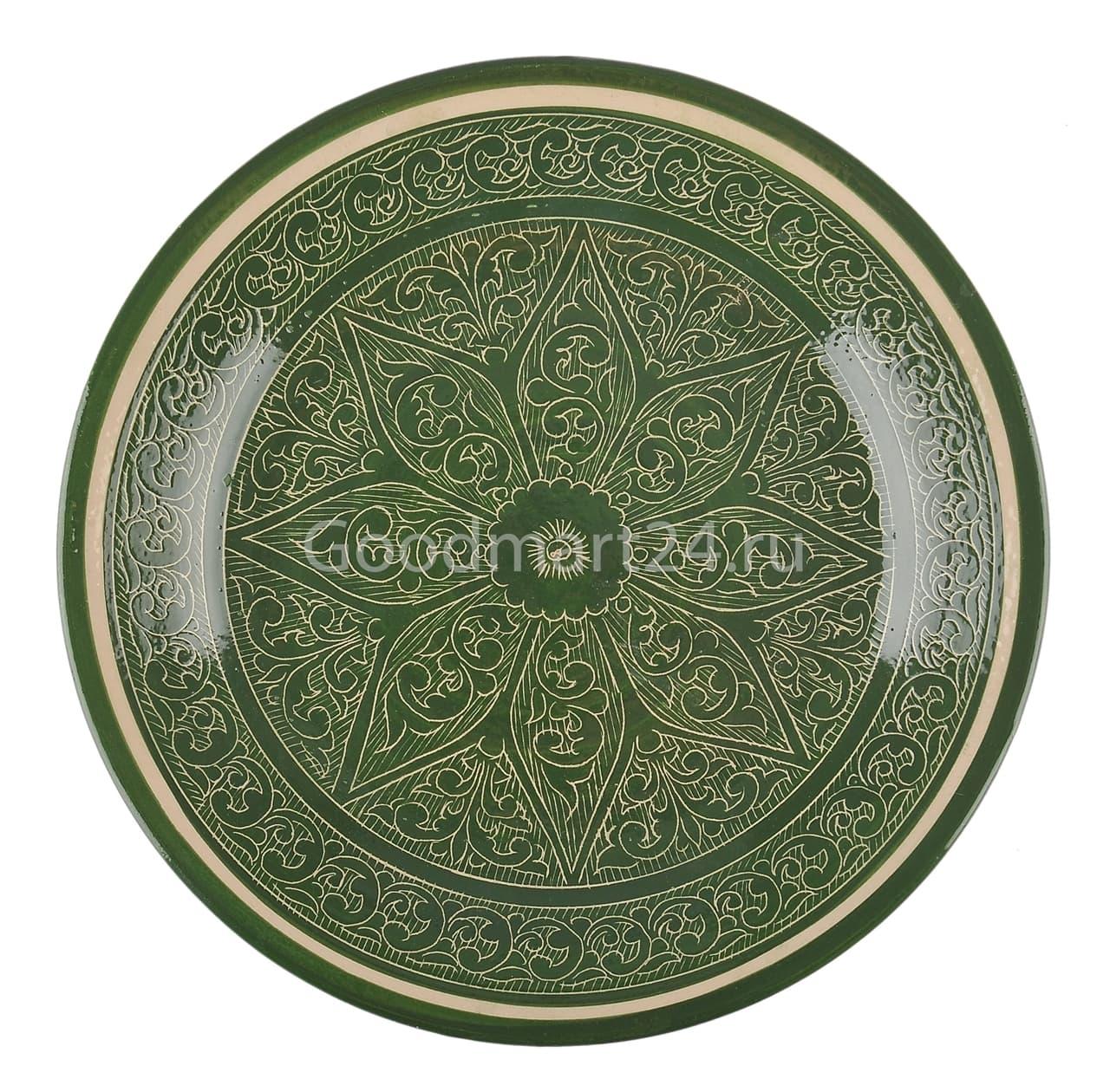 Ляган Риштанская Керамика 32 см. плоский, зеленый - фото 7338