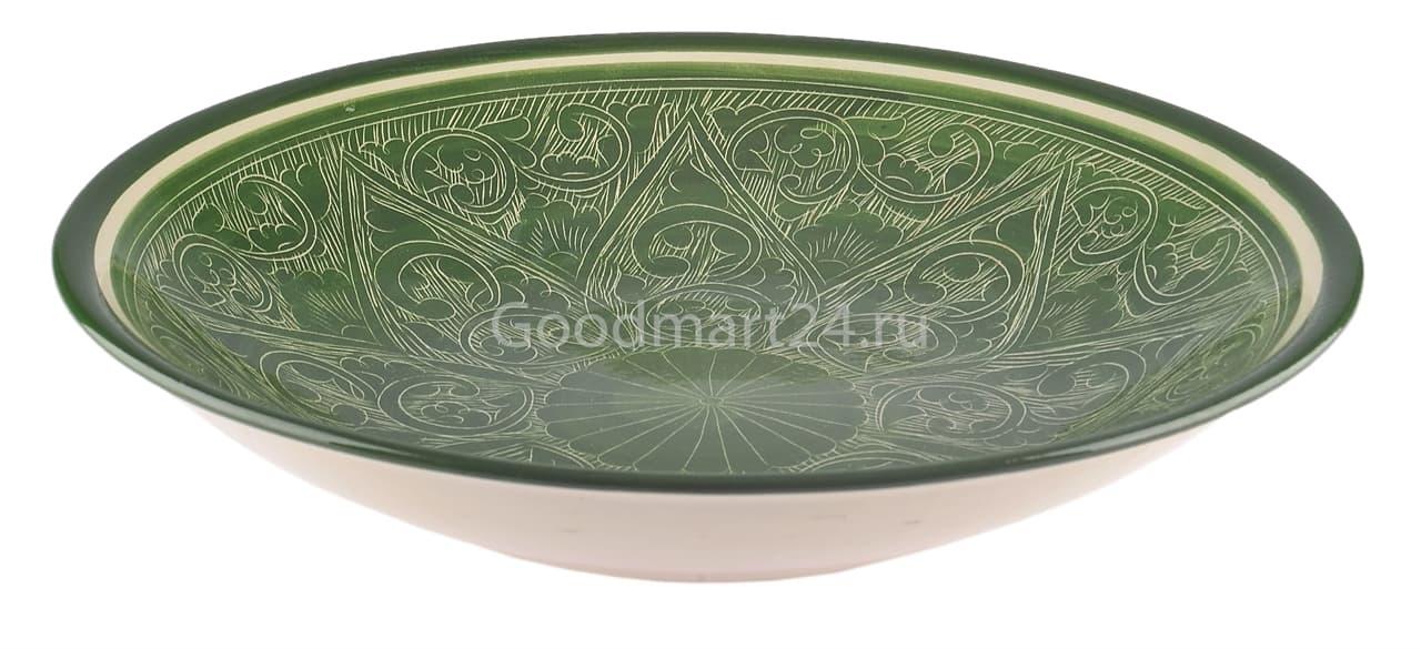 Ляган Риштанская Керамика 34 см. плоский, зеленый - фото 7339