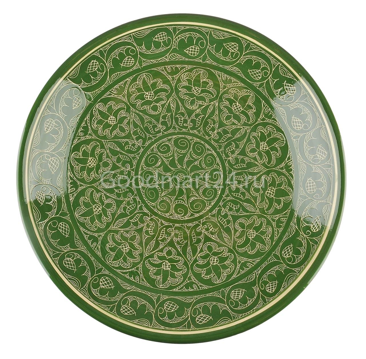 Ляган Риштанская Керамика 34 см. плоский, зеленый - фото 7340