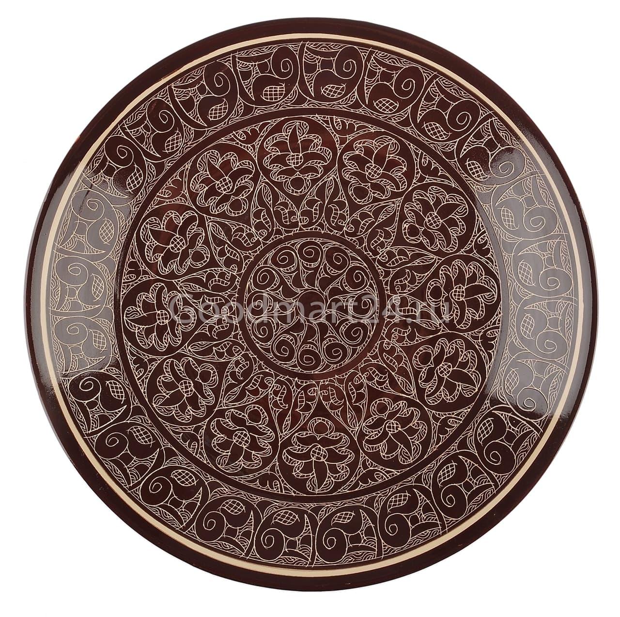 Ляган Риштанская Керамика 34 см. плоский, коричневый - фото 7354