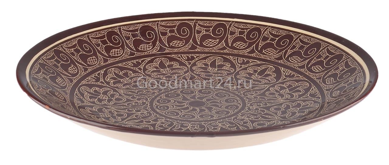 Ляган Риштанская Керамика 46 см. плоский, коричневый - фото 7364