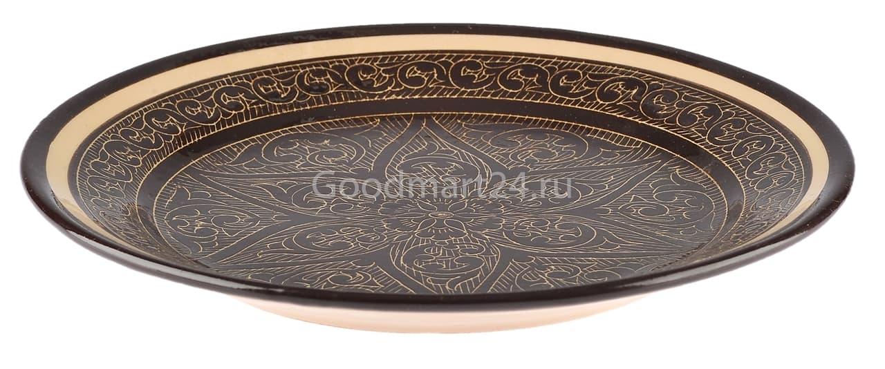 Ляган Риштанская Керамика 46 см. плоский, коричневый - фото 7365