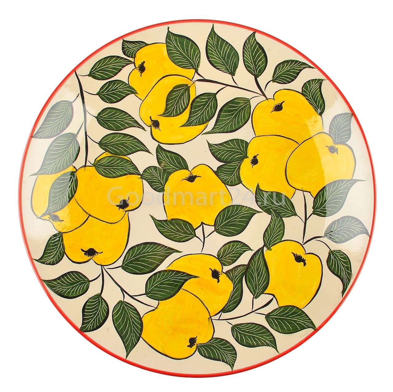 Ляган Риштанская Керамика 38 см. плоский, желтое яблоко - фото 7366