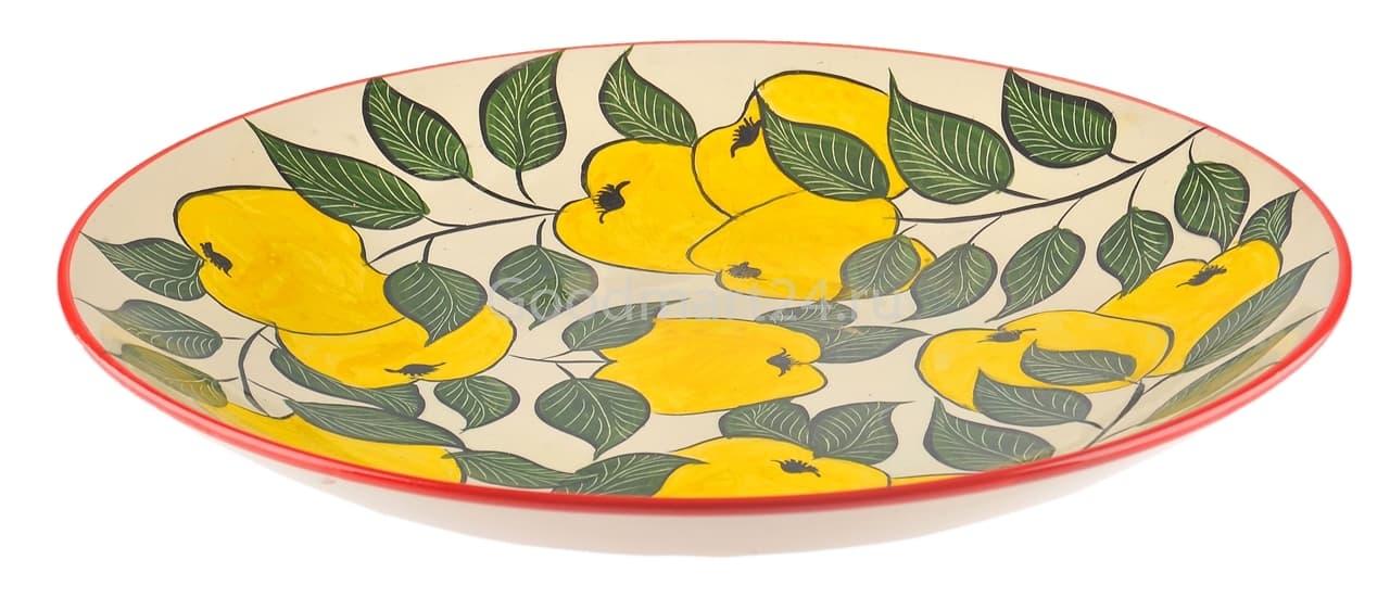 Ляган Риштанская Керамика 38 см. плоский, желтое яблоко - фото 7367