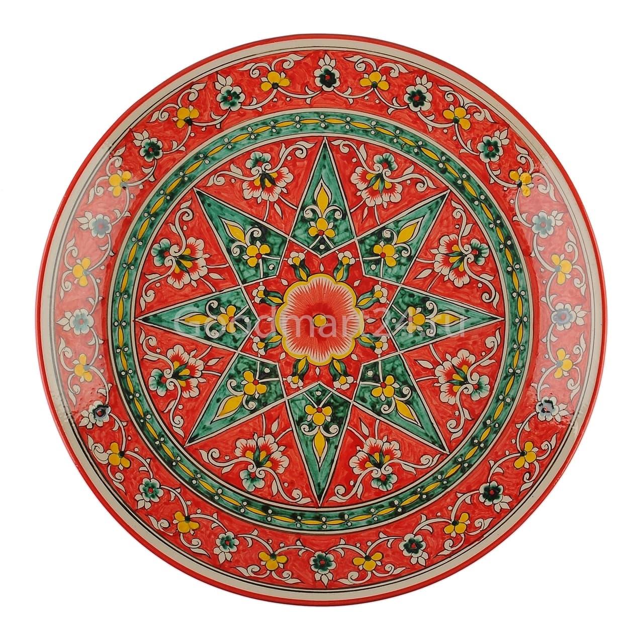 Ляган Риштанская Керамика 38 см. плоский, Qora galam - фото 7384