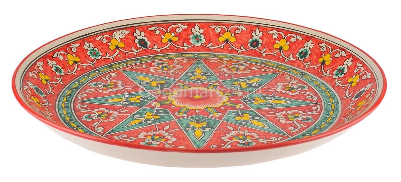 Ляган Риштанская Керамика 38 см. плоский, Qora galam - фото 7385