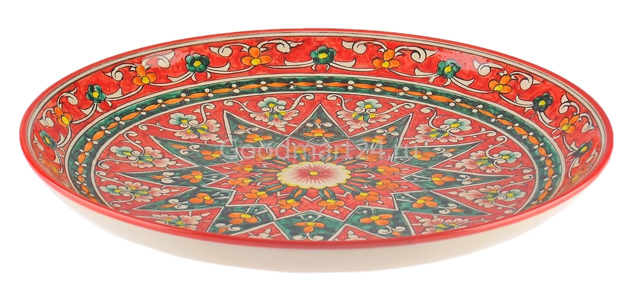 Ляган Риштанская Керамика 38 см. плоский, Qora galam - фото 7386