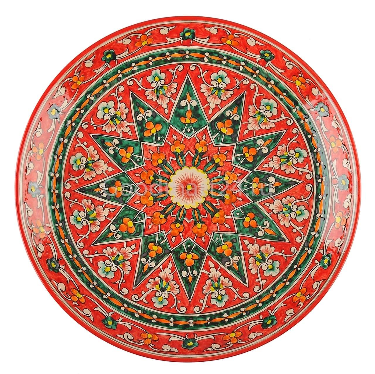 Ляган Риштанская Керамика 42 см. плоский, Qora galam - фото 7391