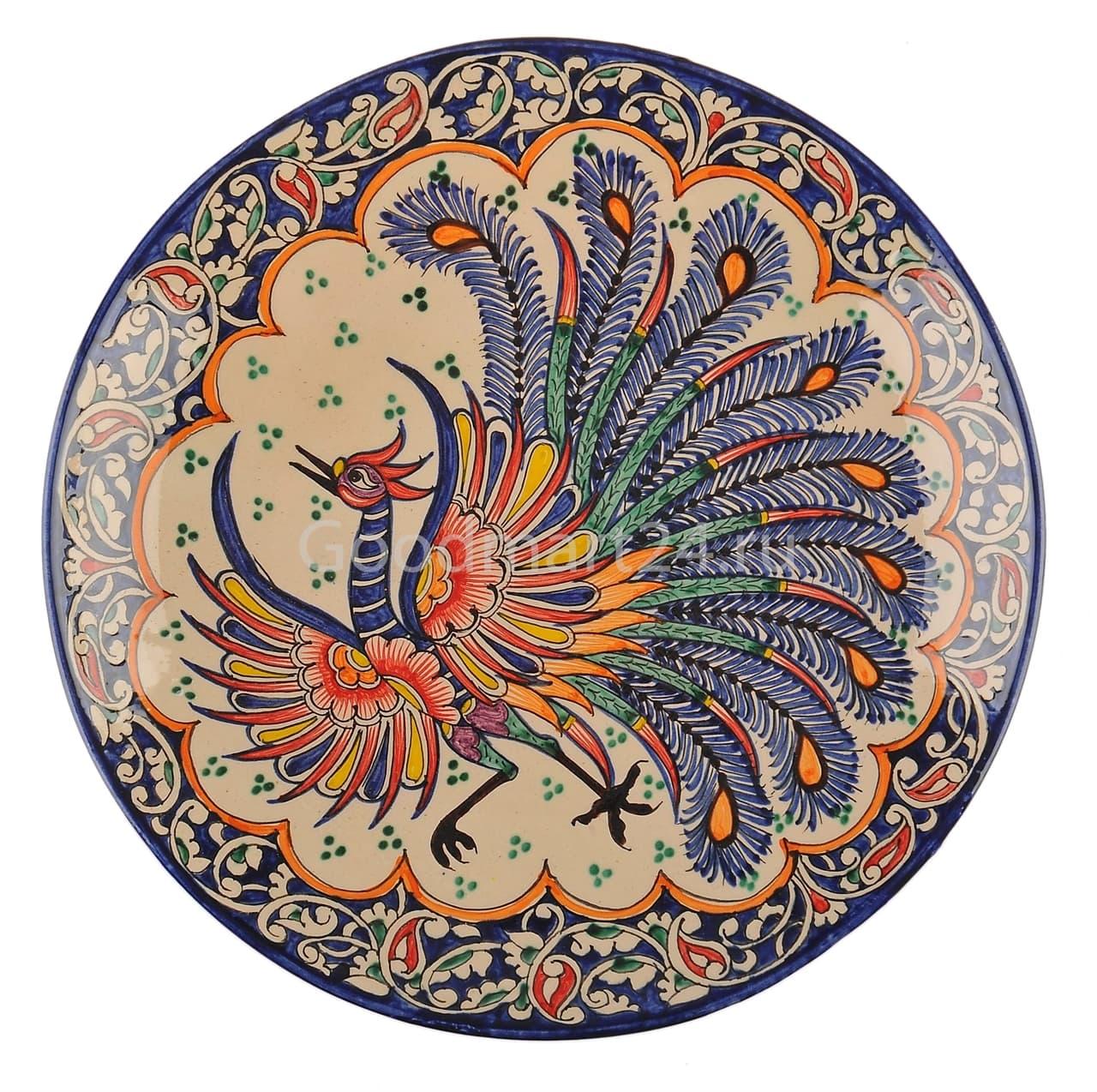 Ляган Риштанская Керамика 42 см. плоский, Жар-Птица - фото 7400