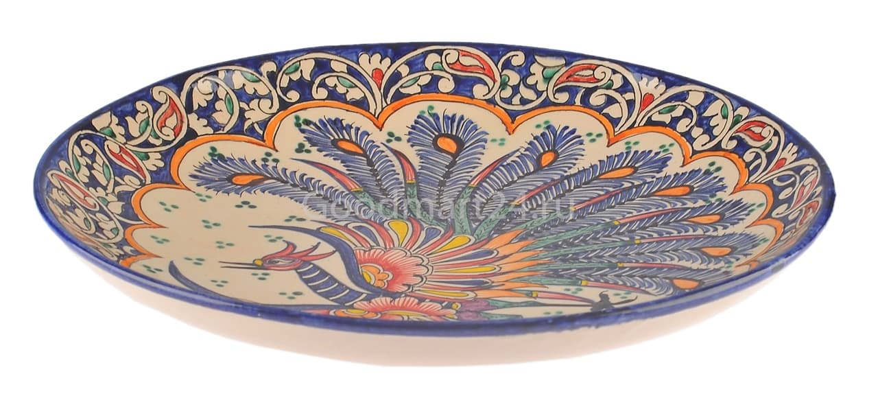 Ляган Риштанская Керамика 42 см. плоский, Жар-Птица - фото 7402