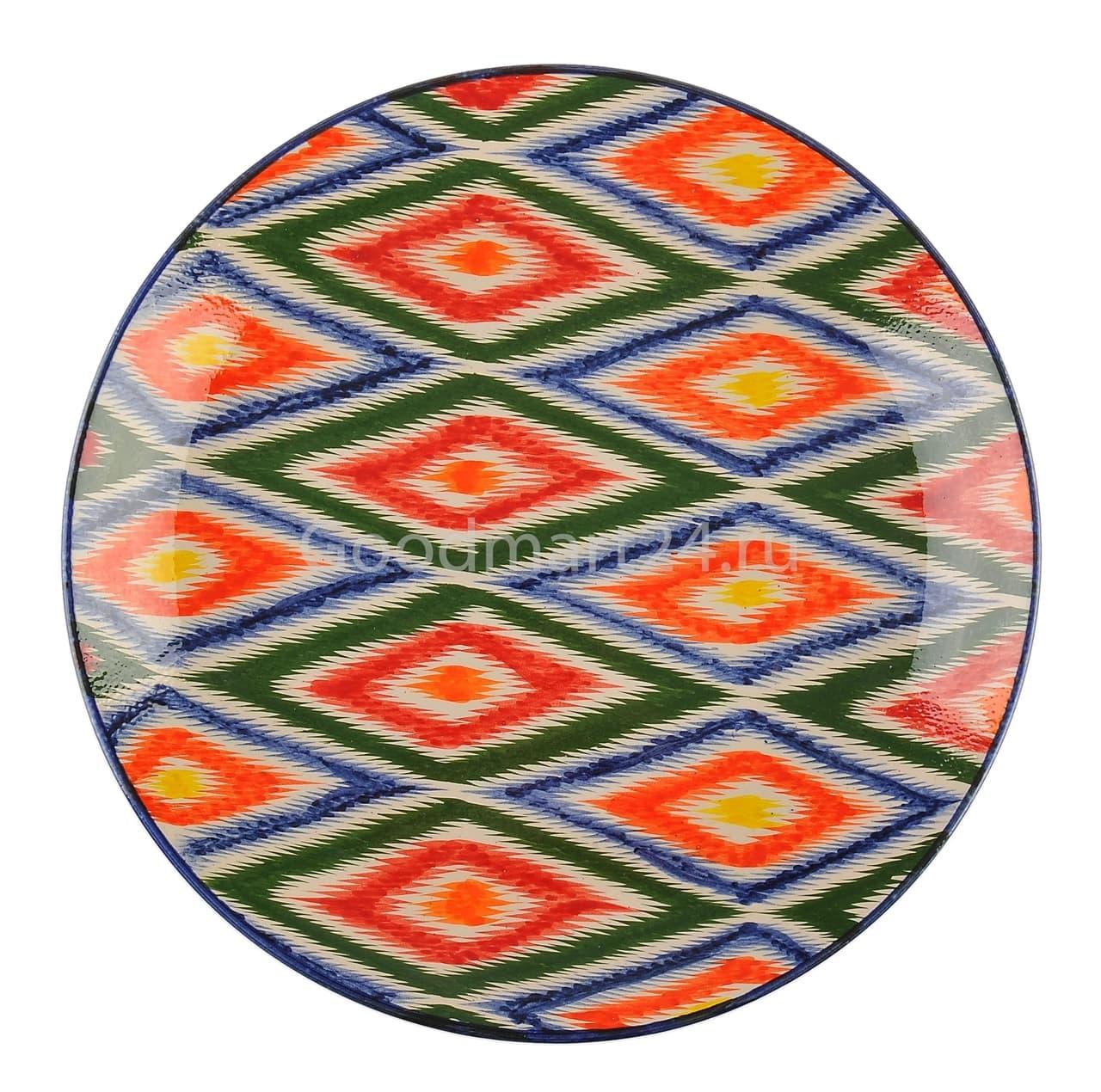 Ляган Риштанская Керамика 42 см. плоский, Атлас - фото 7418