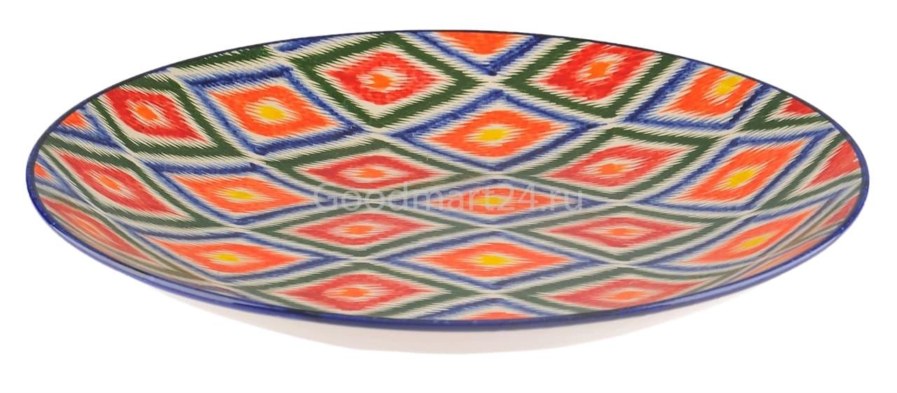 Ляган Риштанская Керамика 42 см. плоский, Атлас - фото 7420