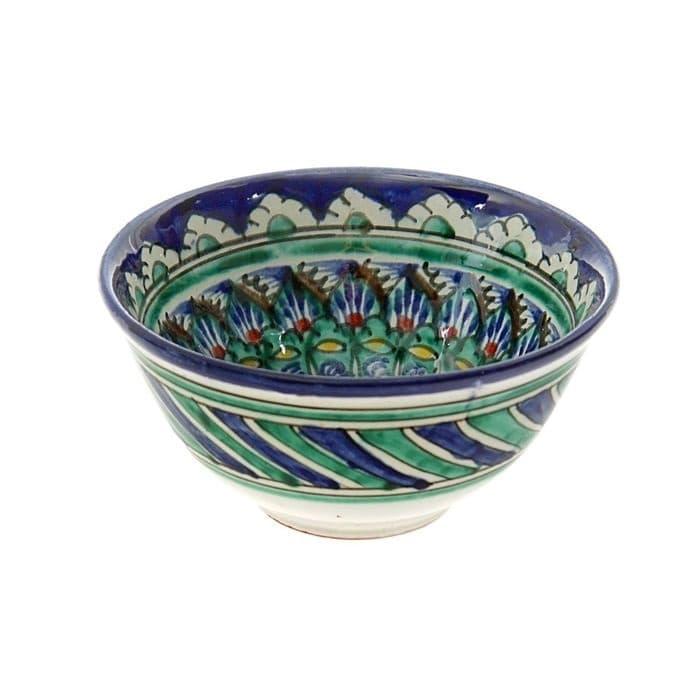 Пиала Риштанская Керамика средняя d-9 см. h-5 см. синяя - фото 7425