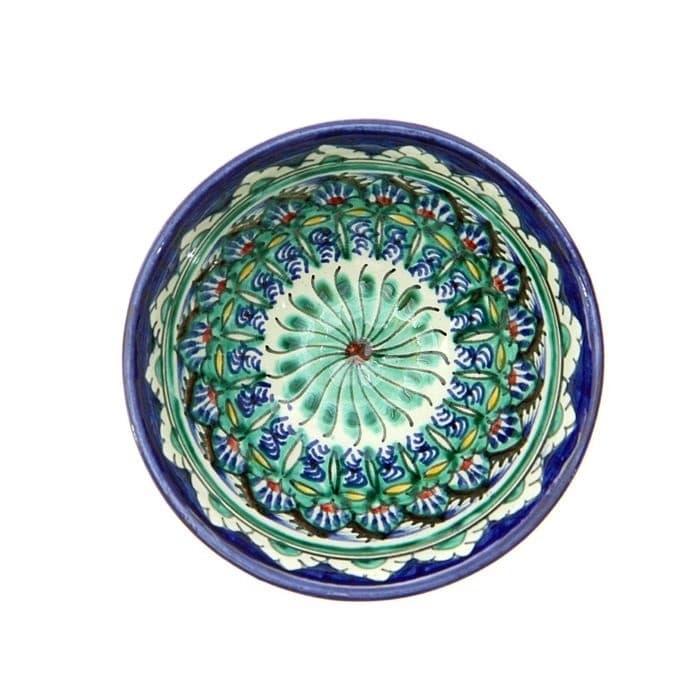 Пиала Риштанская Керамика средняя d-9 см. h-5 см. синяя - фото 7426
