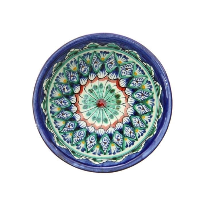 Пиала Риштанская Керамика большая d-11 см. h-5,5 см. синяя - фото 7430