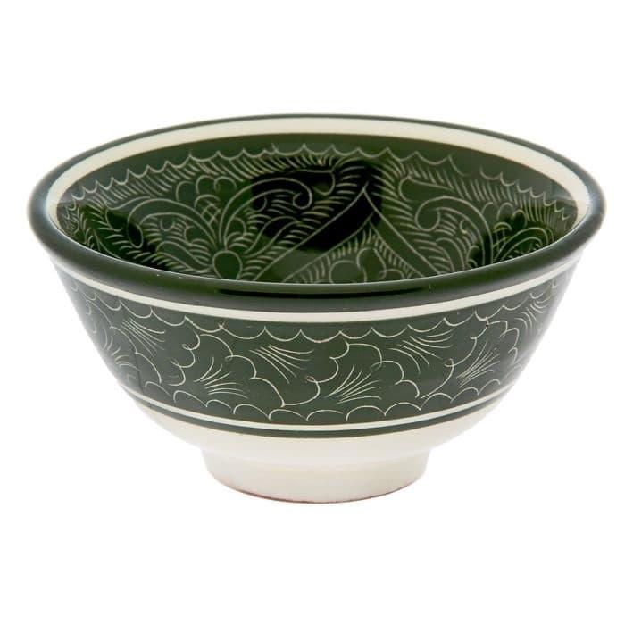 Пиала Риштанская Керамика средняя d-9 см. h-5 см. зеленая - фото 7435