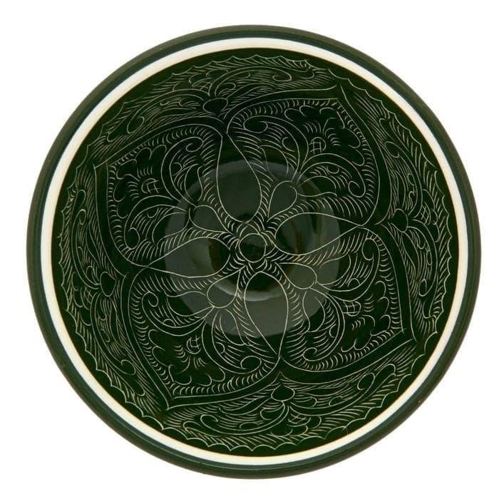 Пиала Риштанская Керамика средняя d-9 см. h-5 см. зеленая - фото 7436