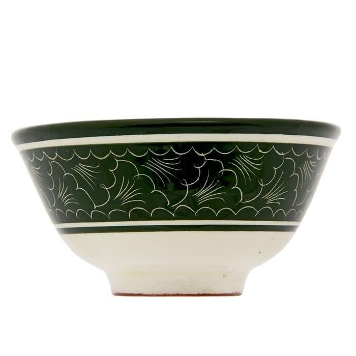 Пиала Риштанская Керамика большая d-11 см. h-5,5 см. зеленая - фото 7442