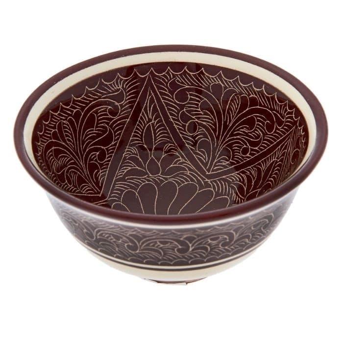 Пиала Риштанская Керамика средняя d-9 см. h-5 см. коричневая - фото 7446