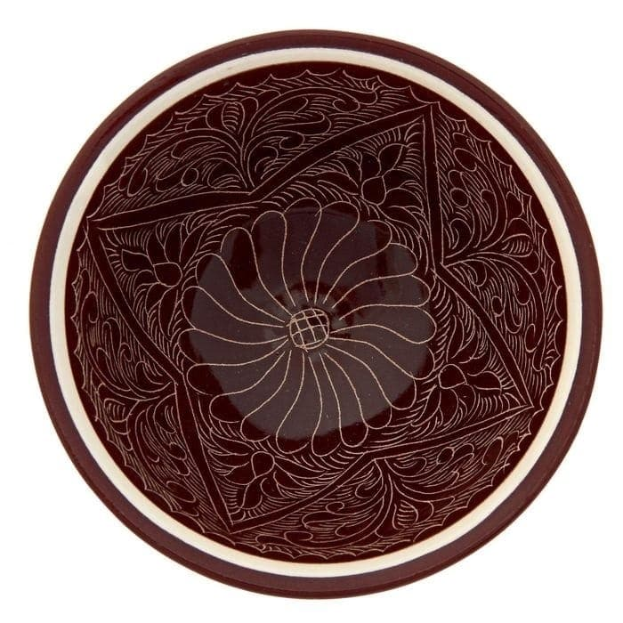 Пиала Риштанская Керамика средняя d-9 см. h-5 см. коричневая - фото 7447